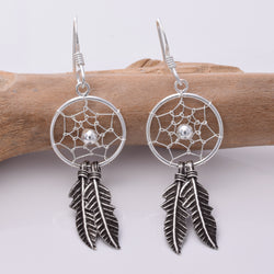 E166 - Silver dreamcatcher earrings