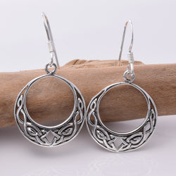 E298 - Silver Celtic Hoop Earrings