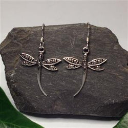 E357 -dragonfly drop earrings