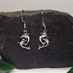 E370 -Double dolphin drop earrings