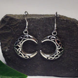 E375 - Sterling silver celtic crescent moon earrings