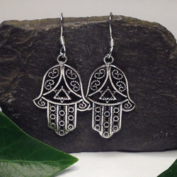 E392 - Silver Hand Of Fatima earrings