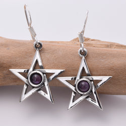 E393 Pentagram and Amethyst earrings