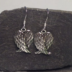 E410 Silver folded angel wing drop earrings