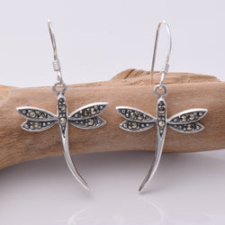 E411 - SALE - Silver dragonfly with marcasite drop earrings