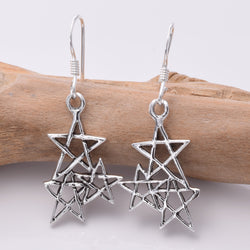 E419 Sterling silver triple star earrings