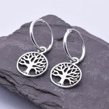E444 - Tree of life hoop earrings