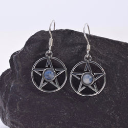 E454 - Silver Pentagram moonstone earrings