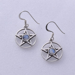 E454 - Pentagram moonstone earrings