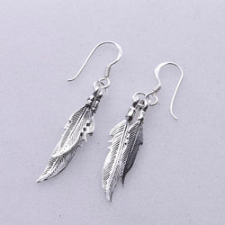 E464 - Double feather drop earrings