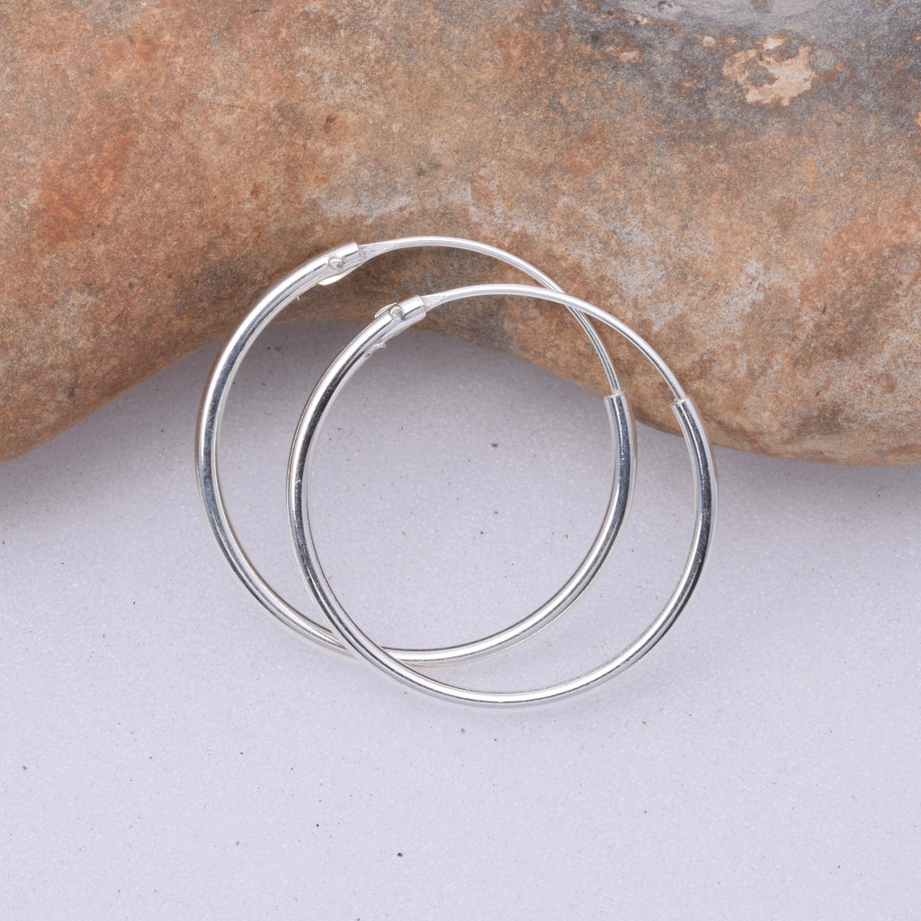 E489 - Silver 1.2 x 35mm Sleeper hoop earrings