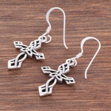 E495  Celtic knot work cross earrings