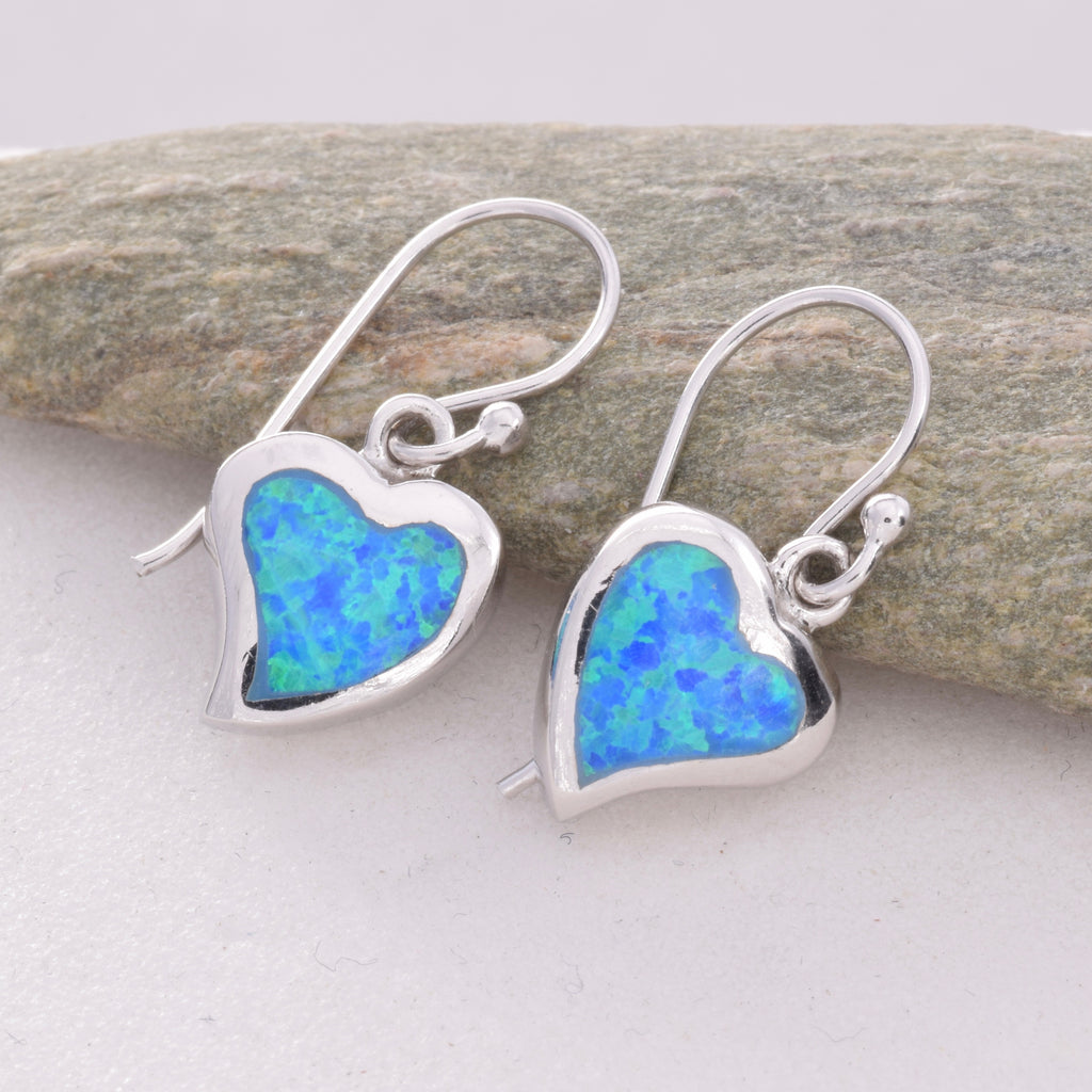 E511 - SALE - Heart blue opal earrings