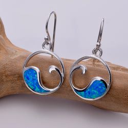 E512 - Wave design blue opal earrings