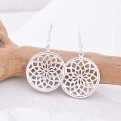 E521 - Mandala design disc earrings