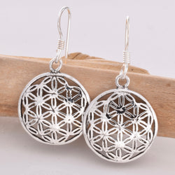 E523 - SALE - Flower of Life silver earrings