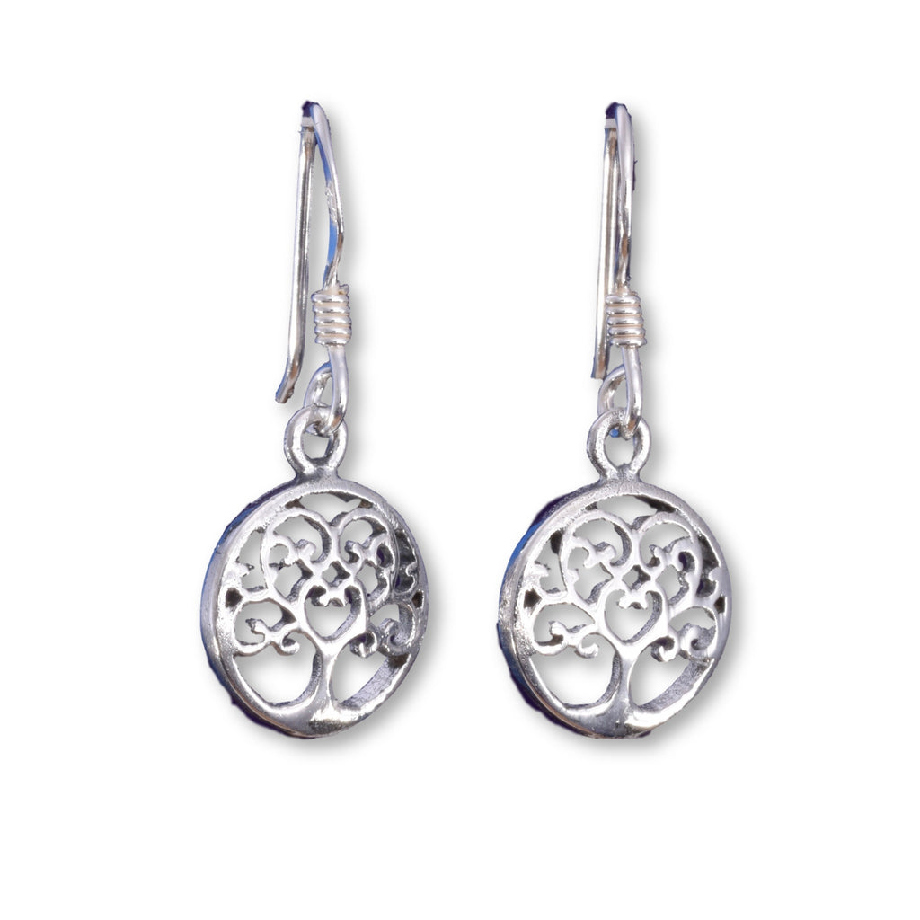 E527 - Small tree of life silver disc earrings