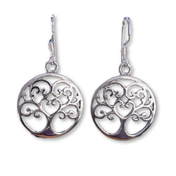 E529 - SALE - tree of life disc earrings