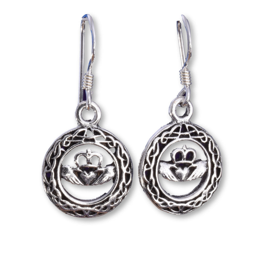 E531 - Celtic disc Claddagh silver earrings