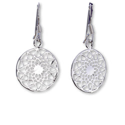 E535 - Mandala design silver earrings 14mm