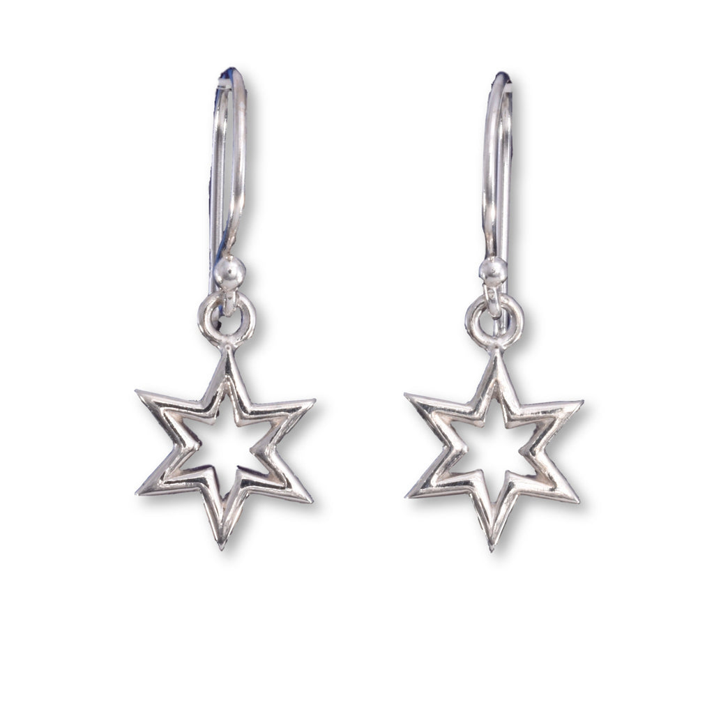 E544 - Tiny six point star drop earring