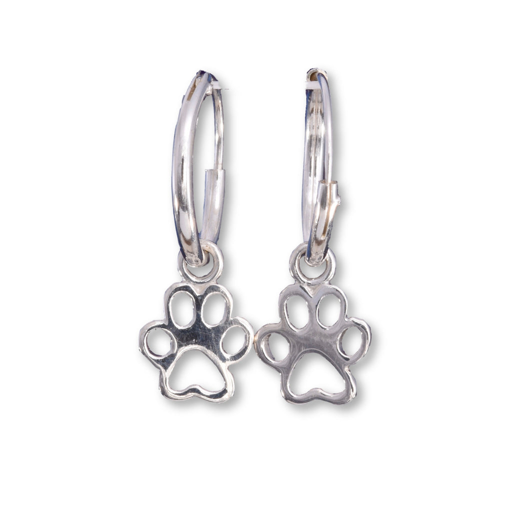 E548 - Silver paw print on hoop