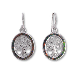 E551 - SALE - Fire opal Tree of life oval earrings