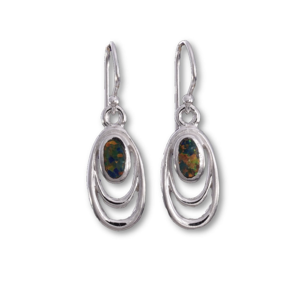 E554 - Double oval wire and fire opal earrings
