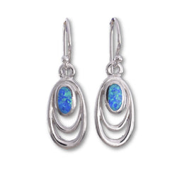 E555 - Double oval wire and blue opal earrings