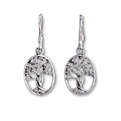 E558 - Silver Oval Tree of Life earrings