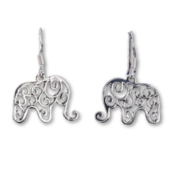 E559 - Silver Happy Elephant earrings