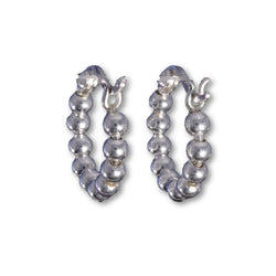 E562 - Silver string of beads hoop earrings 14mm