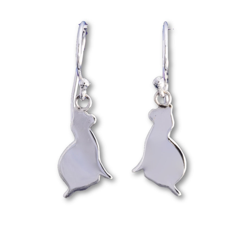 E563 - Silver silhouette cat earrings