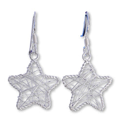E567 - Silver wire mesh star drop earrings
