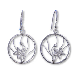 E577 - Starfish wire hoop drop earrings