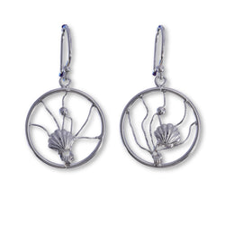 E578 - SALE - Scallop shell wire disc earrings