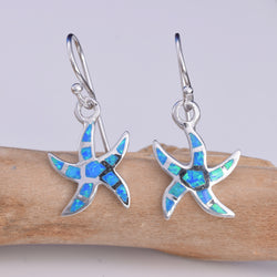 "E586 - Silver Starfish ""Blue opal"" earrings"