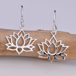 E587 - Silver lotus flower earrings