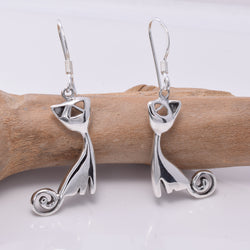 E639 - Silver Sitting cat earrings