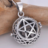 P736 - Silver pentagram gemstone locket