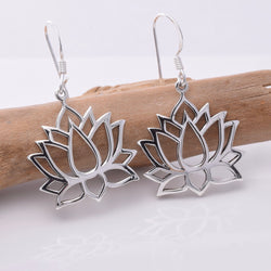 E641 - Silver lotus flower earrings