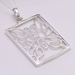 P769 - Rectangle filigree butterfly pendant