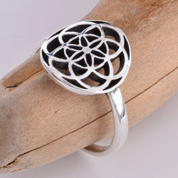 R138 - Silver flower of life ring