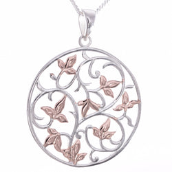 P697 - Silver and rose gold filigree disc tree