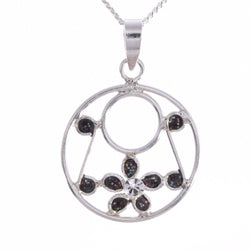 P677 - Black disc and daisy pendant