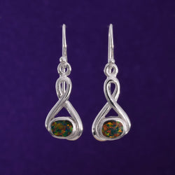 E552 - Fire opal silver wire earrings