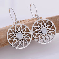 E600 - Water lily moonstone drop earrings
