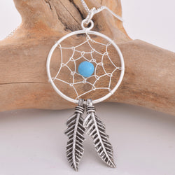 P135 - Silver Dreamcatcher Pendant turquoise col bead