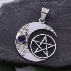 P345 - Solid silver crescent moon and pentagram
