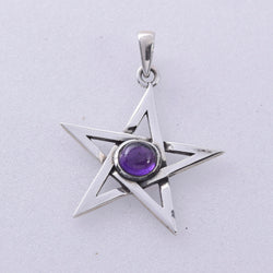 P398 - Pentagram pendant with amethyst stone setting